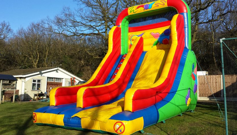 bouncy castle out in autumn